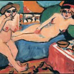 Ernst Ludwig Kirchnerשתי נשים עירומות על ספה כחולה, Two Nudes on a Blue Sofa, 1910-20THE MERZBACHERS COLLECTION