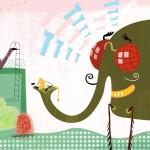 מתוך התערוכה משחקים במוזיאון העיצוב. איור של אורית ברגמן מתוך ספרה יומגדול עם צפרנגול בהוצאת כתר