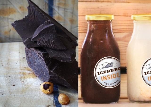 אייסברג טבעוני מילקשייק חלב אגוזי לוז ושוקולד מריר על בסיס חלב לוז