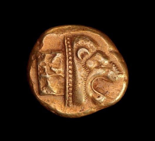 מטבעות אלקטרום. מהמטבעות הקדומים ביותר נטבעו קרוב לשנת 620 לפני הספירה. אוסף מוזיאון ישראל יחצ