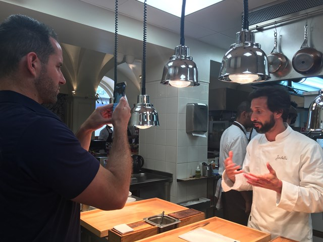 Avillez 11 – Chef Jose Avillez takes questions from viewers during a Facebook live in his kitchen.