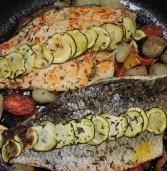 ברמונדי בתנור על מצע ירקות