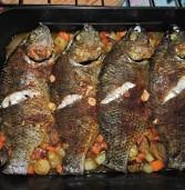 דג אמנון מושט על מצע ירקות